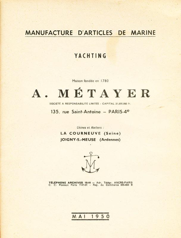 Catalogue A. Métayer - Manufacture d'articles de marine