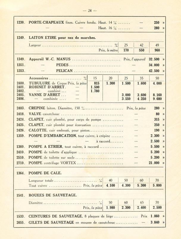 Tarifs catalogue A. Métayer - Manufacture d'articles de marine